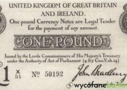 stary funt brytyjski emitowany przez HM Treasury